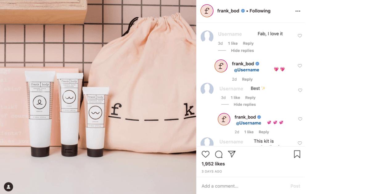 Frank bod customer engagement strategy on Instagram