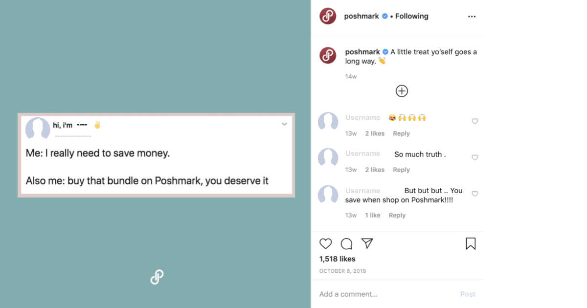 Poshmark customer engagement strategy on Instagram